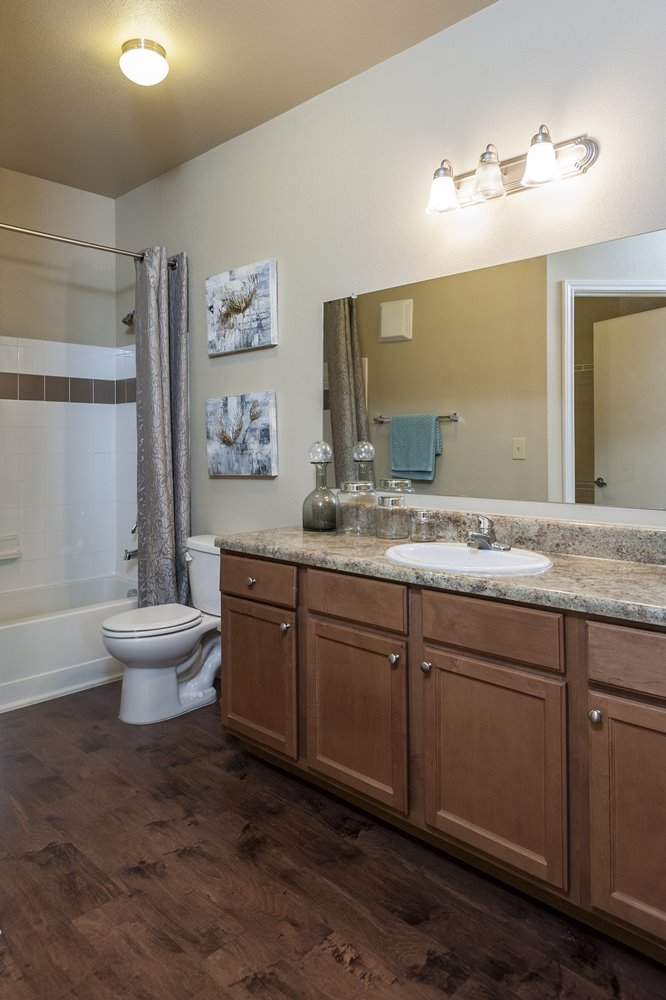 Bathroom with Large Mirror and Counter Space