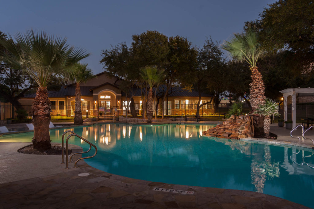 Judson Pointe pool at night lightened up